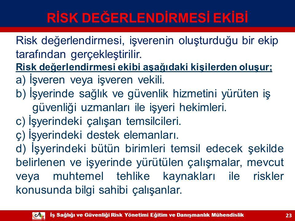 İş Sağlığı ve Güvenliği Risk Yönetimi Eğitim ve Danışmanlık Mühendislik 23 Risk değerlendirmesi, işverenin oluşturduğu bir ekip tarafından gerçekleşti