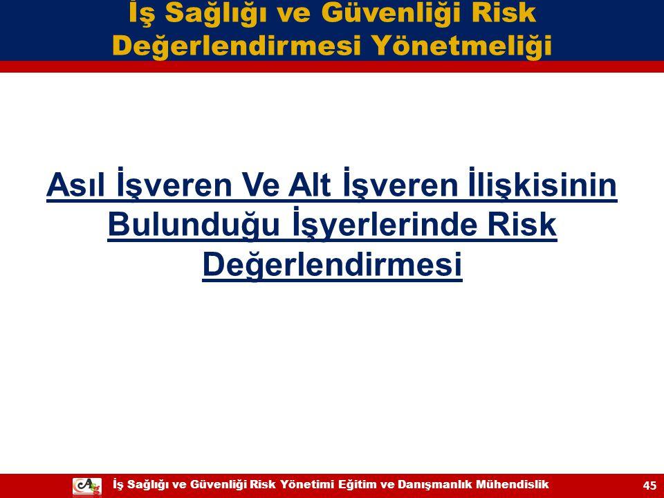 İş Sağlığı ve Güvenliği Risk Yönetimi Eğitim ve Danışmanlık Mühendislik 45 Asıl İşveren Ve Alt İşveren İlişkisinin Bulunduğu İşyerlerinde Risk Değerle