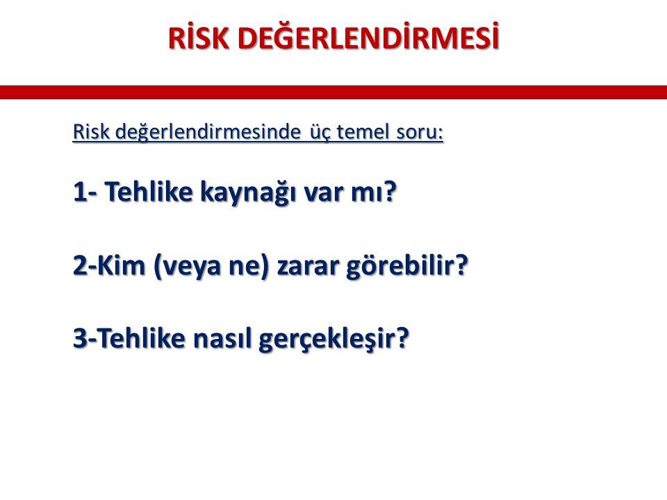 Risk değerlendirmesinde üç temel soru: 1- Tehlike kaynağı var mı? 2-Kim (veya ne) zarar görebilir? 3-Tehlike nasıl gerçekleşir? RİSK DEĞERLENDİRMESİ