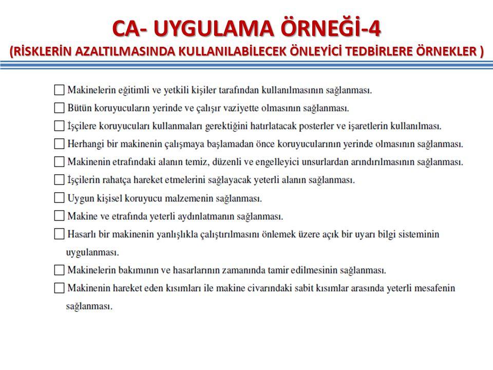 CA- UYGULAMA ÖRNEĞİ-4 (RİSKLERİN AZALTILMASINDA KULLANILABİLECEK ÖNLEYİCİ TEDBİRLERE ÖRNEKLER )