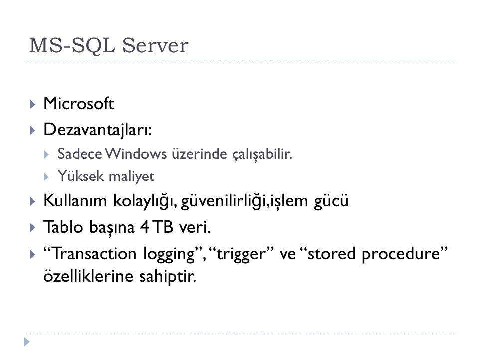 MS-SQL Server  Microsoft  Dezavantajları:  Sadece Windows üzerinde çalışabilir.  Yüksek maliyet  Kullanım kolaylı ğ ı, güvenilirli ğ i,işlem gücü