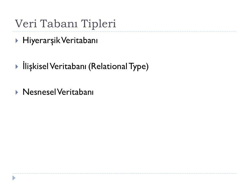 Veri Tabanı Tipleri  Hiyerarşik Veritabanı  İ lişkisel Veritabanı (Relational Type)  Nesnesel Veritabanı