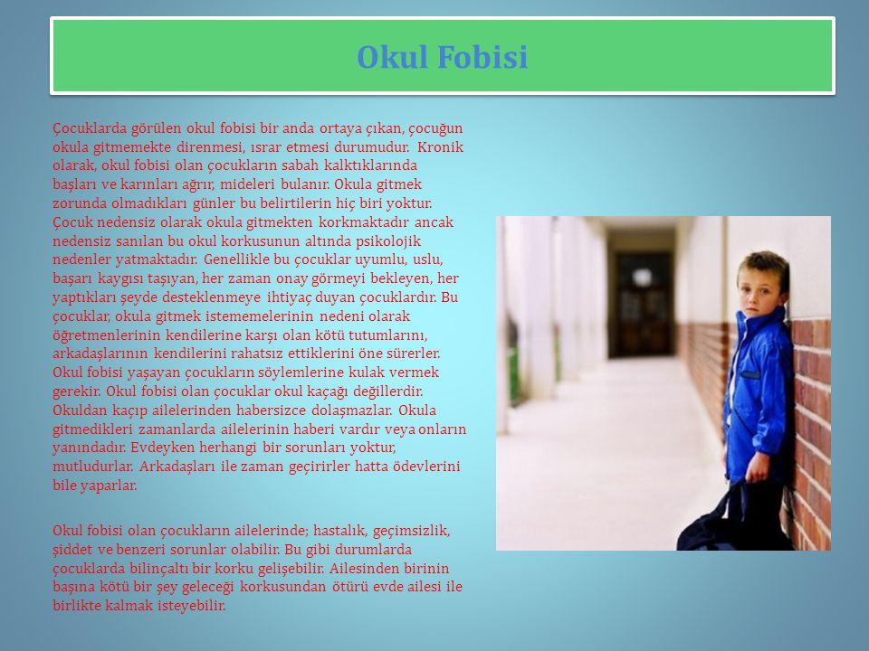 Okul Fobisi Çocuklarda görülen okul fobisi bir anda ortaya çıkan, çocuğun okula gitmemekte direnmesi, ısrar etmesi durumudur.