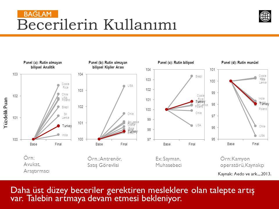 Kaynak: Aedo ve ark.,, 2013. Daha üst düzey beceriler gerektiren mesleklere olan talepte artış var. Talebin artmaya devam etmesi bekleniyor. Beceriler