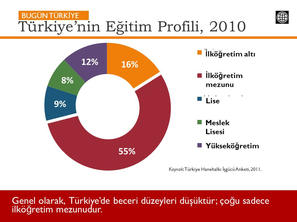 Türkiye'nin Eğitim Profili, 2010 Kaynak: Türkiye Hanehalkı İ şgücü Anketi, 2011. BUGÜN TÜRK İ YE Genel olarak, Türkiye'de beceri düzeyleri düşüktür; ç