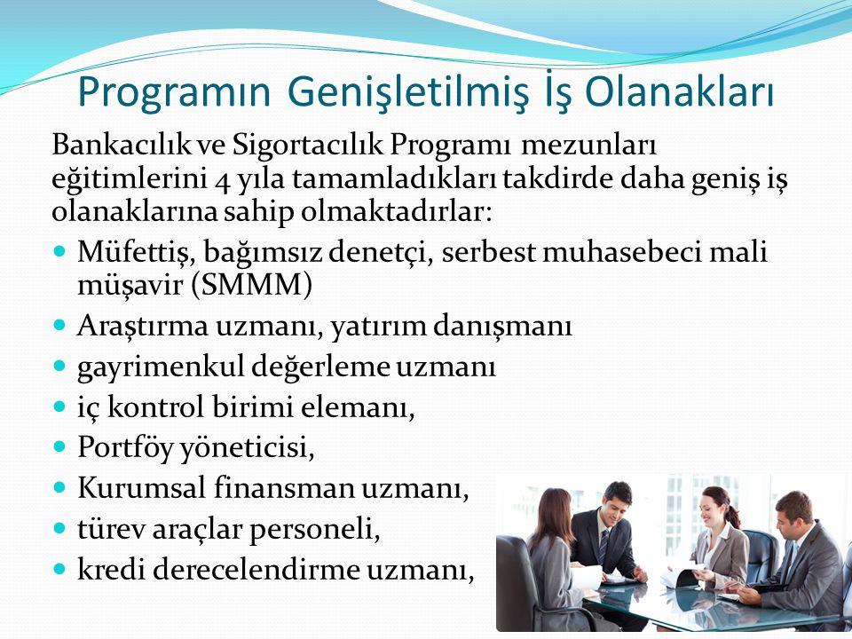 Programın Genişletilmiş İş Olanakları Bankacılık ve Sigortacılık Programı mezunları eğitimlerini 4 yıla tamamladıkları takdirde daha geniş iş olanakla