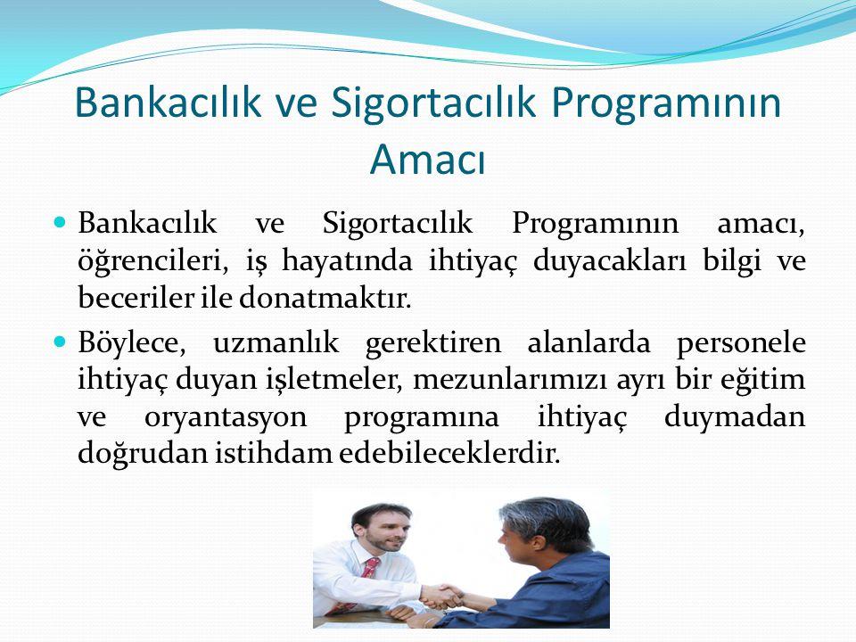 Bankacılık ve Sigortacılık Programının Amacı Bankacılık ve Sigortacılık Programının amacı, öğrencileri, iş hayatında ihtiyaç duyacakları bilgi ve bece