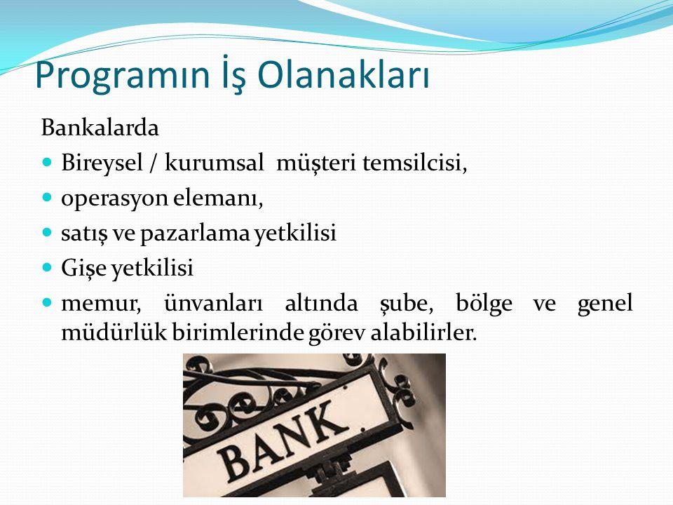 Programın İş Olanakları Bankalarda Bireysel / kurumsal müşteri temsilcisi, operasyon elemanı, satış ve pazarlama yetkilisi Gişe yetkilisi memur, ünvan