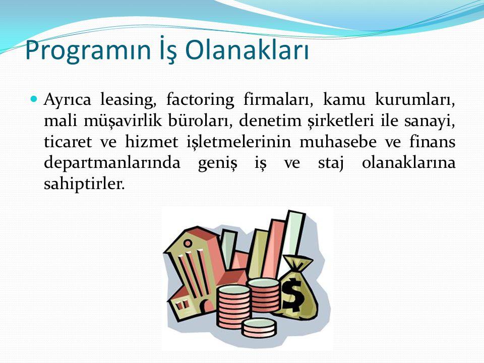 Programın İş Olanakları Ayrıca leasing, factoring firmaları, kamu kurumları, mali müşavirlik büroları, denetim şirketleri ile sanayi, ticaret ve hizme