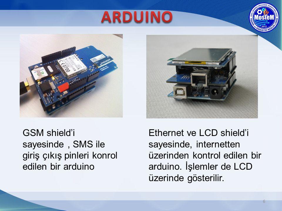 6 GSM shield'i sayesinde, SMS ile giriş çıkış pinleri konrol edilen bir arduino Ethernet ve LCD shield'i sayesinde, internetten üzerinden kontrol edil