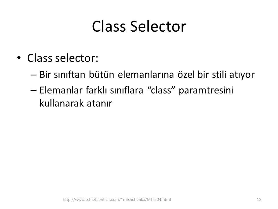 Class Selector Class selector: – Bir sınıftan bütün elemanlarına özel bir stili atıyor – Elemanlar farklı sınıflara class paramtresini kullanarak atanır http://www.scinetcentral.com/~mishchenko/MIT504.html12
