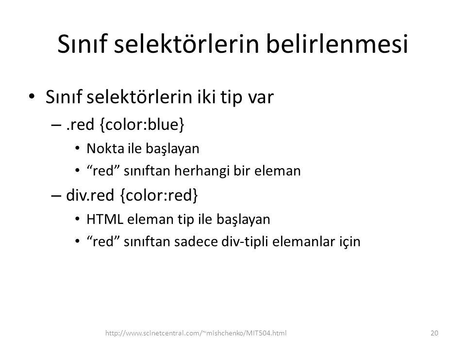 Sınıf selektörlerin belirlenmesi Sınıf selektörlerin iki tip var –.red {color:blue} Nokta ile başlayan red sınıftan herhangi bir eleman – div.red {color:red} HTML eleman tip ile başlayan red sınıftan sadece div-tipli elemanlar için http://www.scinetcentral.com/~mishchenko/MIT504.html20