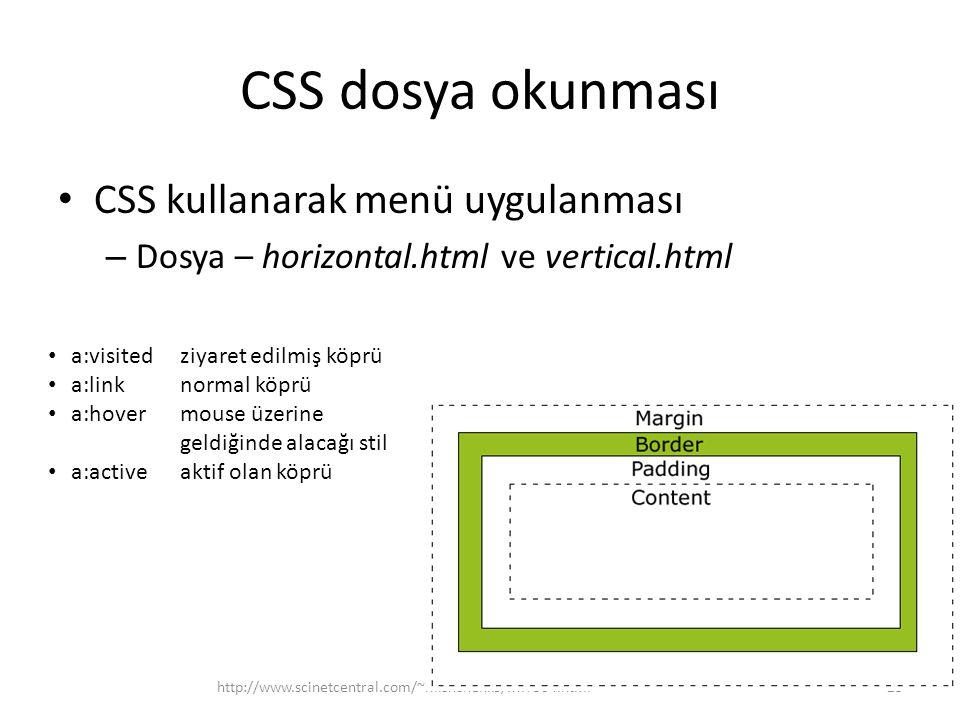 CSS dosya okunması CSS kullanarak menü uygulanması – Dosya – horizontal.html ve vertical.html http://www.scinetcentral.com/~mishchenko/MIT504.html23 a:visited ziyaret edilmiş köprü a:linknormal köprü a:hovermouse üzerine geldiğinde alacağı stil a:activeaktif olan köprü