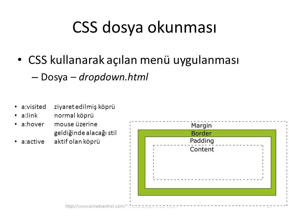 CSS dosya okunması CSS kullanarak açılan menü uygulanması – Dosya – dropdown.html http://www.scinetcentral.com/~mishchenko/MIT504.html24 a:visited ziyaret edilmiş köprü a:linknormal köprü a:hovermouse üzerine geldiğinde alacağı stil a:activeaktif olan köprü