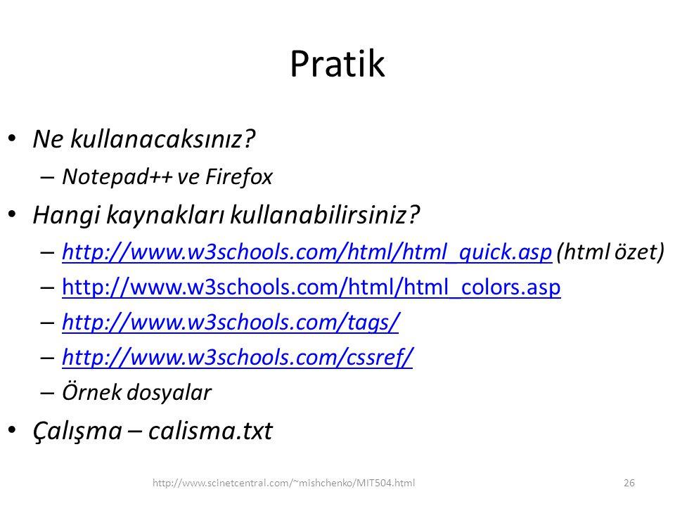 Pratik Ne kullanacaksınız? – Notepad++ ve Firefox Hangi kaynakları kullanabilirsiniz? – http://www.w3schools.com/html/html_quick.asp (html özet) http: