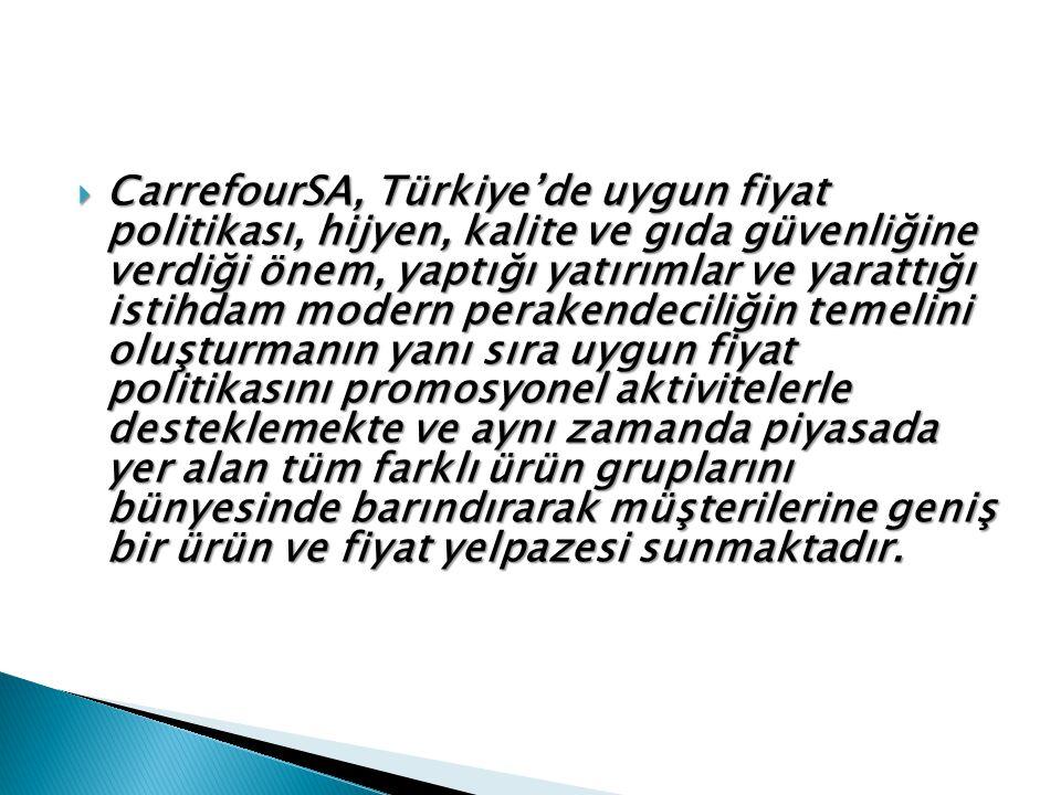  CarrefourSA, Türkiye'de uygun fiyat politikası, hijyen, kalite ve gıda güvenliğine verdiği önem, yaptığı yatırımlar ve yarattığı istihdam modern perakendeciliğin temelini oluşturmanın yanı sıra uygun fiyat politikasını promosyonel aktivitelerle desteklemekte ve aynı zamanda piyasada yer alan tüm farklı ürün gruplarını bünyesinde barındırarak müşterilerine geniş bir ürün ve fiyat yelpazesi sunmaktadır.
