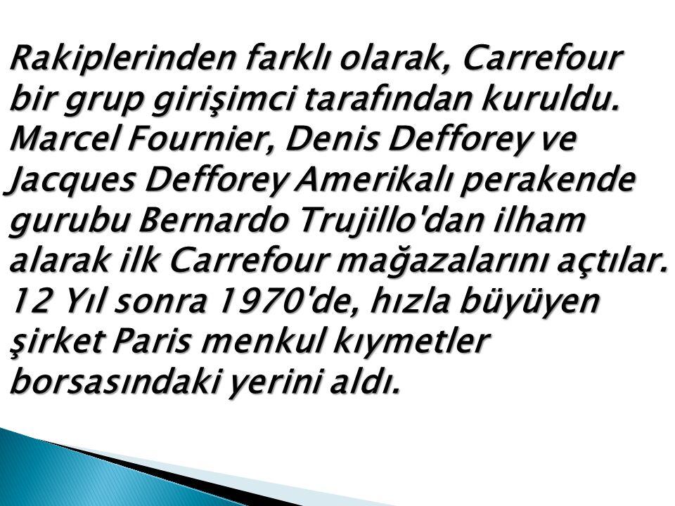Rakiplerinden farklı olarak, Carrefour bir grup girişimci tarafından kuruldu.