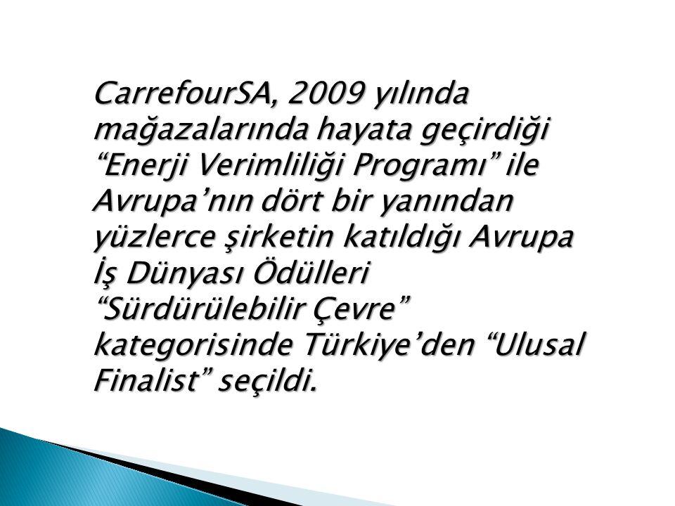 CarrefourSA, 2009 yılında mağazalarında hayata geçirdiği Enerji Verimliliği Programı ile Avrupa'nın dört bir yanından yüzlerce şirketin katıldığı Avrupa İş Dünyası Ödülleri Sürdürülebilir Çevre kategorisinde Türkiye'den Ulusal Finalist seçildi.