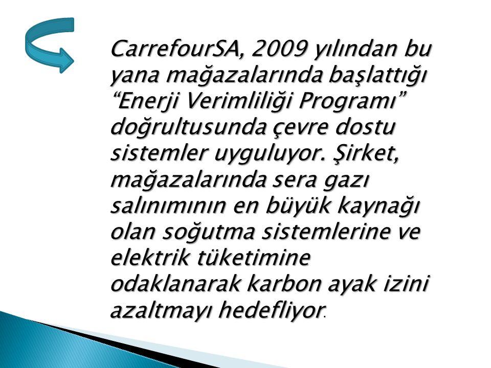 CarrefourSA, 2009 yılından bu yana mağazalarında başlattığı Enerji Verimliliği Programı doğrultusunda çevre dostu sistemler uyguluyor.