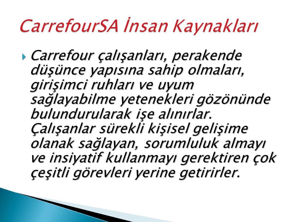  Carrefour çalışanları, perakende düşünce yapısına sahip olmaları, girişimci ruhları ve uyum sağlayabilme yetenekleri gözönünde bulundurularak işe alınırlar.