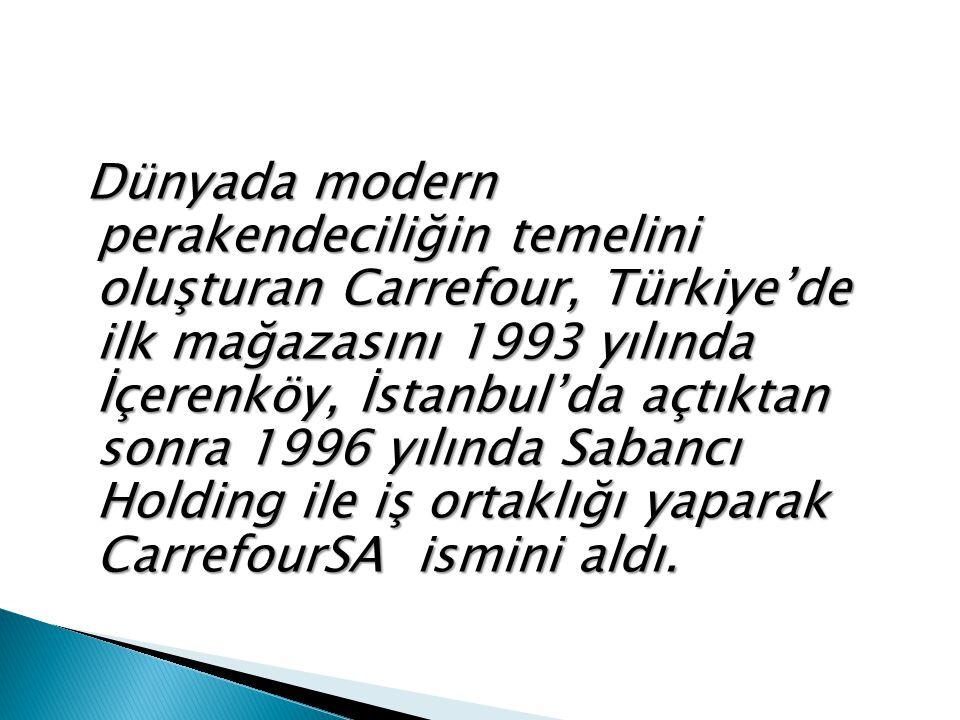 Dünyada modern perakendeciliğin temelini oluşturan Carrefour, Türkiye'de ilk mağazasını 1993 yılında İçerenköy, İstanbul'da açtıktan sonra 1996 yılında Sabancı Holding ile iş ortaklığı yaparak CarrefourSA ismini aldı.
