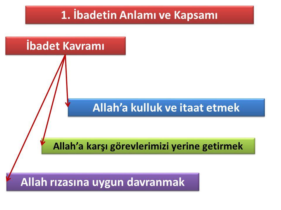 İbadet Kavramı Allah'a kulluk ve itaat etmek Allah'a karşı görevlerimizi yerine getirmek Allah rızasına uygun davranmak 1. İbadetin Anlamı ve Kapsamı