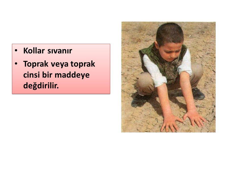 Kollar sıvanır Toprak veya toprak cinsi bir maddeye değdirilir. Kollar sıvanır Toprak veya toprak cinsi bir maddeye değdirilir.