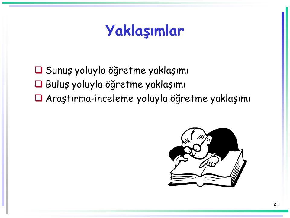 Öğretimde Kullanılan Yaklaşımlar (Stratejiler) Dr. Süleyman Sadi SEFEROĞLU Hacettepe Üniversitesi, Eğitim Fakültesi Bilgisayar ve Öğretim Teknolojiler