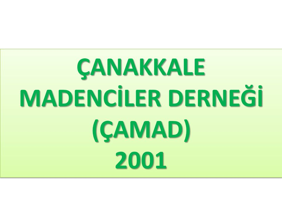 ÇANAKKALE MADENCİLER DERNEĞİ (ÇAMAD)2001 (ÇAMAD)2001