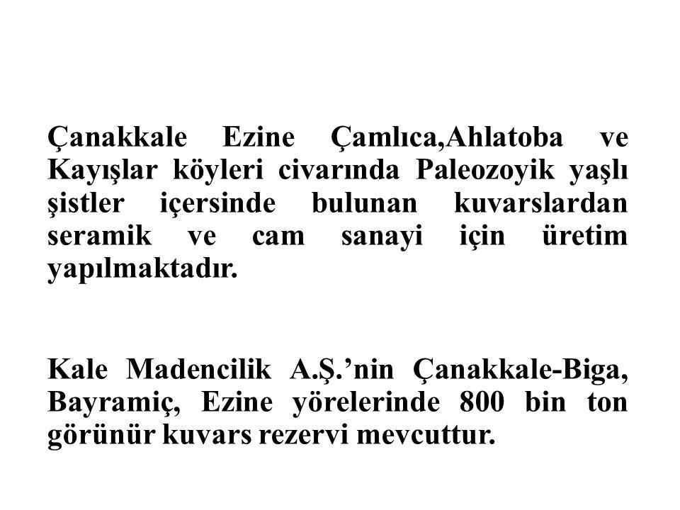 Çanakkale Ezine Çamlıca,Ahlatoba ve Kayışlar köyleri civarında Paleozoyik yaşlı şistler içersinde bulunan kuvarslardan seramik ve cam sanayi için üret