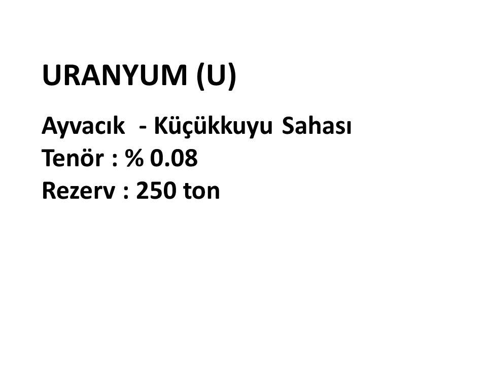 URANYUM (U) Ayvacık - Küçükkuyu Sahası Tenör : % 0.08 Rezerv : 250 ton