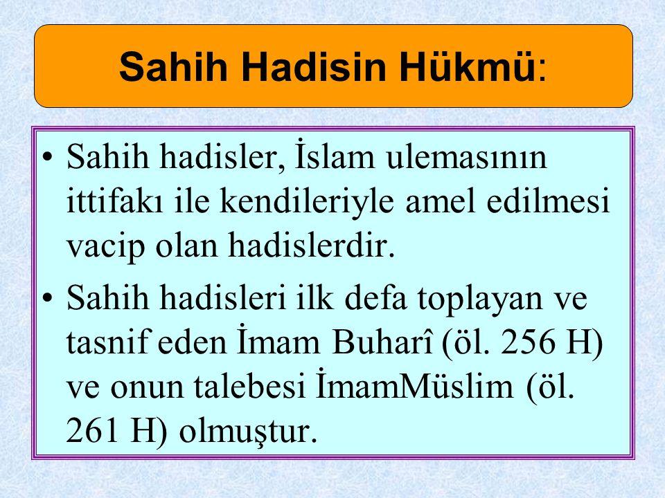 Sahih hadisler, İslam ulemasının ittifakı ile kendileriyle amel edilmesi vacip olan hadislerdir. Sahih hadisleri ilk defa toplayan ve tasnif eden İmam