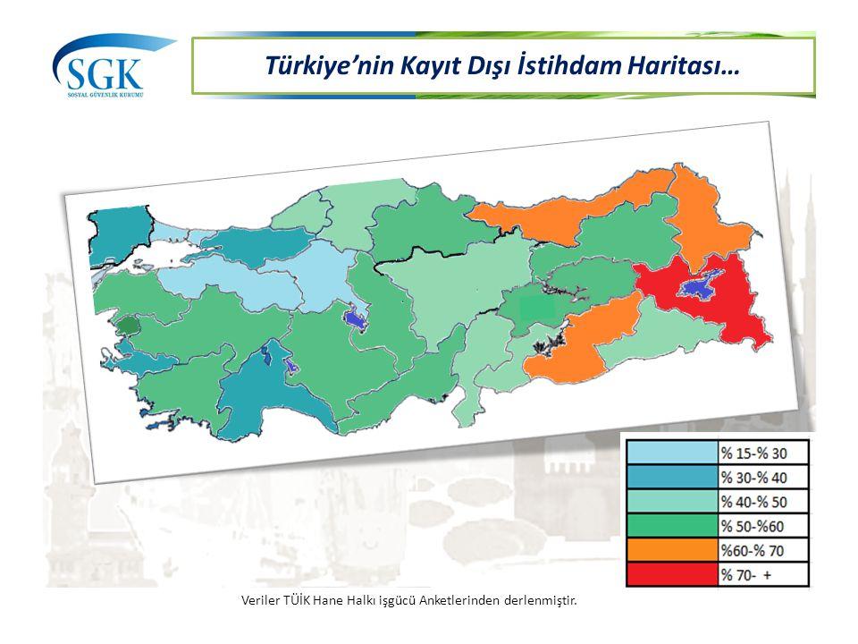 Türkiye'nin Kayıt Dışı İstihdam Haritası… Veriler TÜİK Hane Halkı işgücü Anketlerinden derlenmiştir.