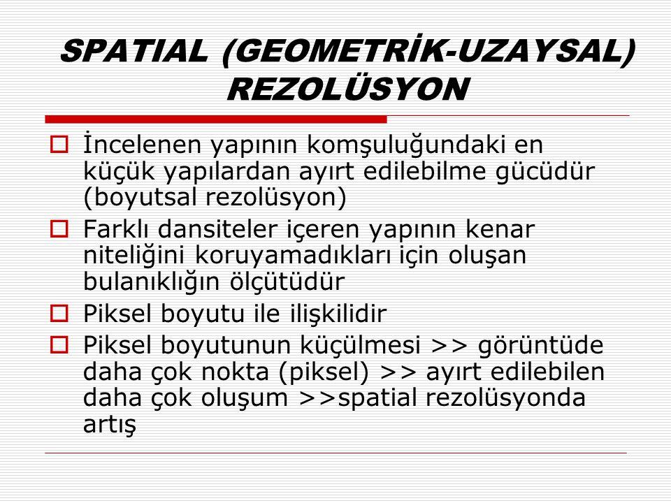 SPATIAL (GEOMETRİK-UZAYSAL) REZOLÜSYON  İncelenen yapının komşuluğundaki en küçük yapılardan ayırt edilebilme gücüdür (boyutsal rezolüsyon)  Farklı