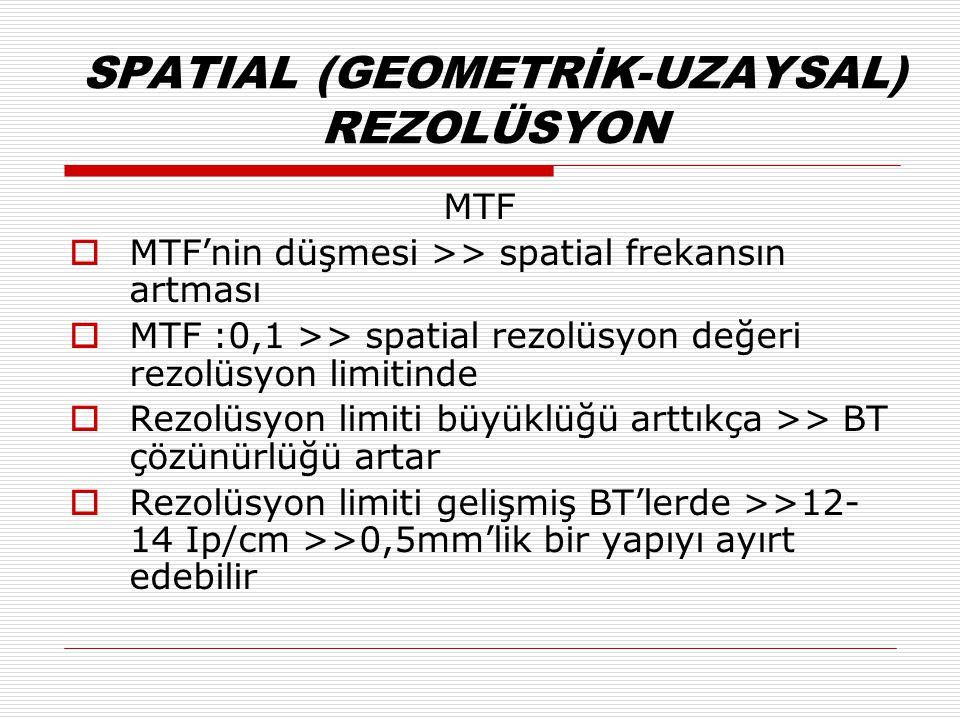 SPATIAL (GEOMETRİK-UZAYSAL) REZOLÜSYON MTF  MTF'nin düşmesi >> spatial frekansın artması  MTF :0,1 >> spatial rezolüsyon değeri rezolüsyon limitinde  Rezolüsyon limiti büyüklüğü arttıkça >> BT çözünürlüğü artar  Rezolüsyon limiti gelişmiş BT'lerde >>12- 14 Ip/cm >>0,5mm'lik bir yapıyı ayırt edebilir
