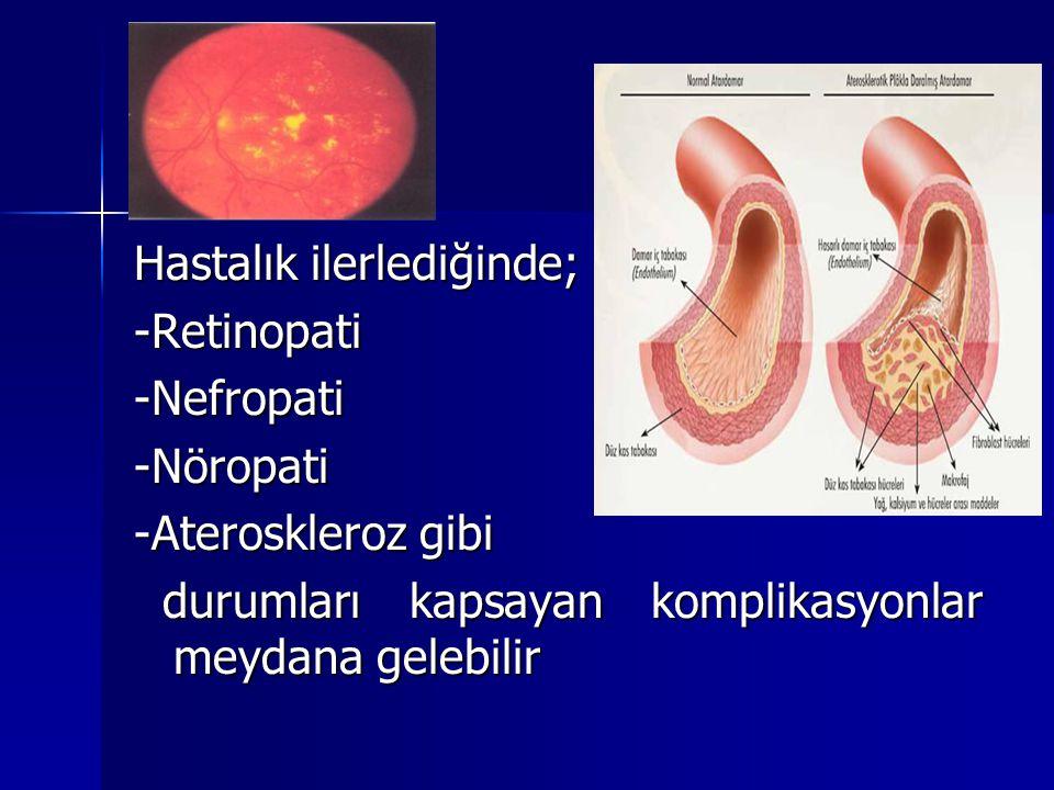 Hastalık ilerlediğinde; -Retinopati-Nefropati-Nöropati -Ateroskleroz gibi durumları kapsayan komplikasyonlar meydana gelebilir durumları kapsayan komp
