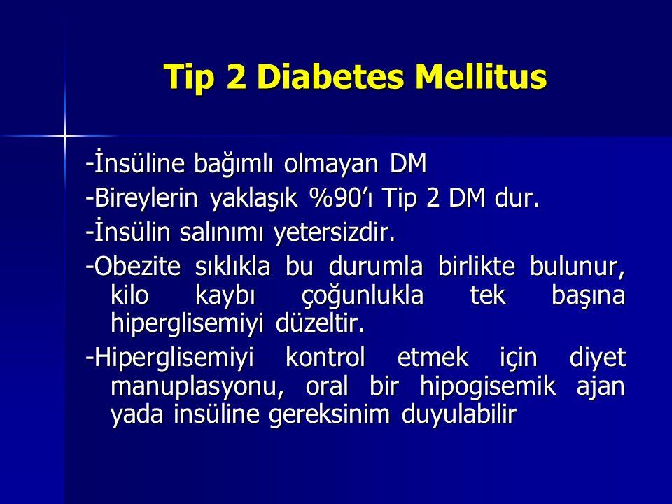 Gestasyonel diabetes mellitus Gebelikte glukoz intoleransının başlaması ya da saptanması Normal gebelik özellikle ikinci trimesterin geç dönemleri ve üçüncü trimesterde artmış insülin direnciyle beraberdir.