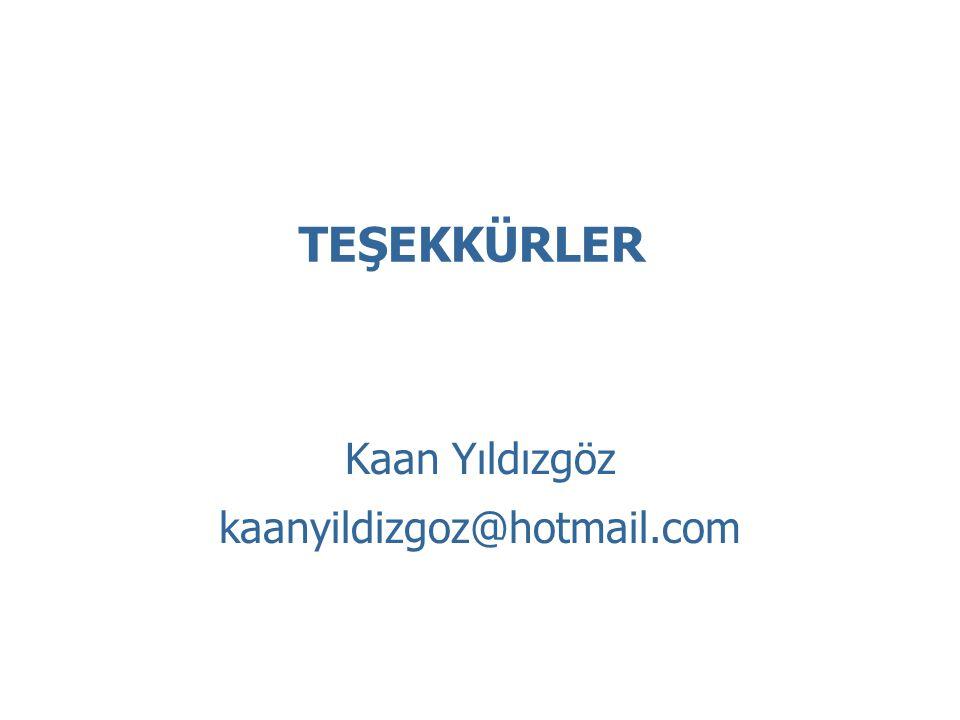Kaan Yıldızgöz kaanyildizgoz@hotmail.com TEŞEKKÜRLER