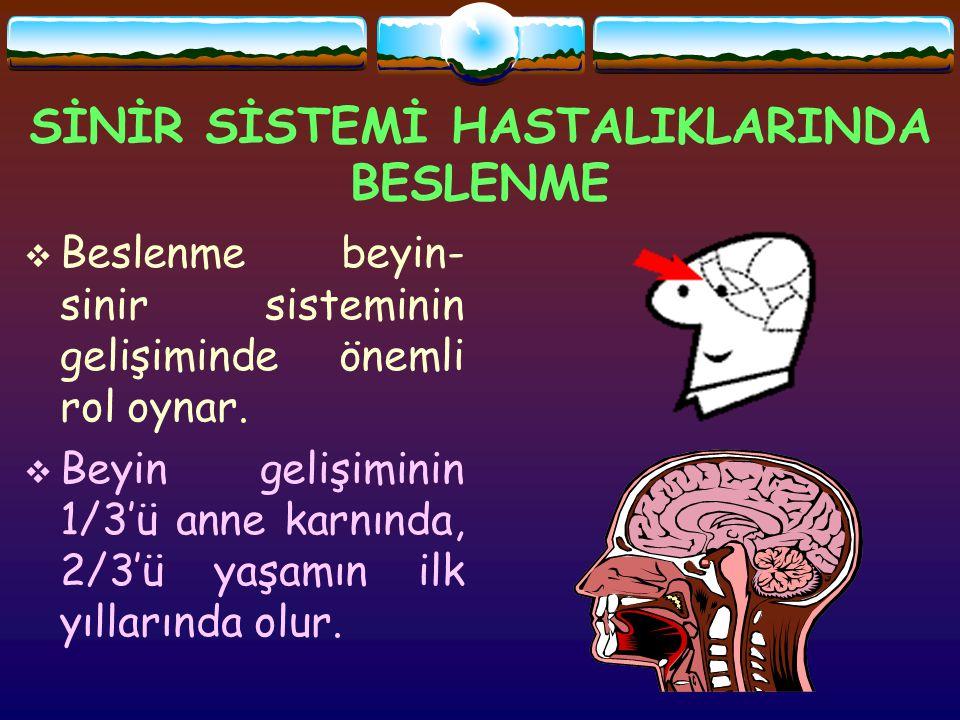 SİNİR SİSTEMİ HASTALIKLARINDA BESLENME  Beslenme beyin- sinir sisteminin gelişiminde önemli rol oynar.