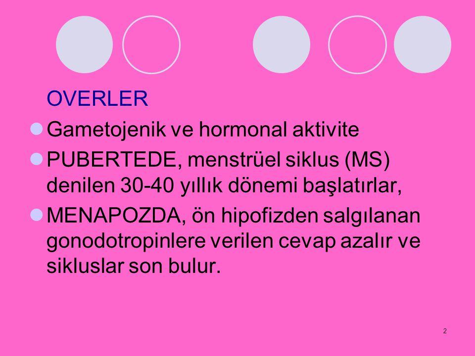 2 OVERLER Gametojenik ve hormonal aktivite PUBERTEDE, menstrüel siklus (MS) denilen 30-40 yıllık dönemi başlatırlar, MENAPOZDA, ön hipofizden salgılan
