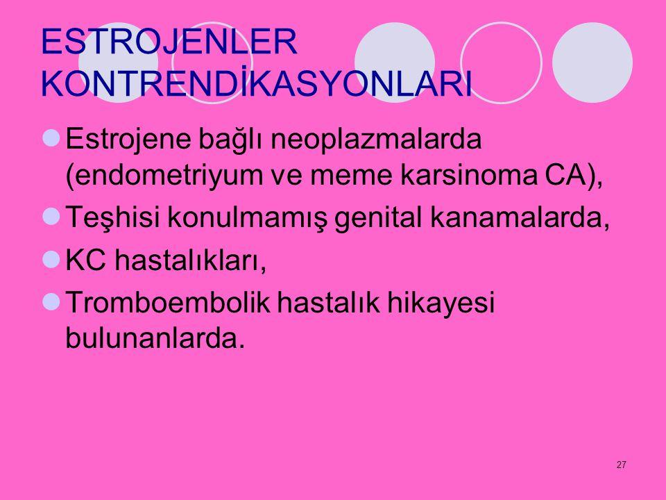 27 ESTROJENLER KONTRENDİKASYONLARI Estrojene bağlı neoplazmalarda (endometriyum ve meme karsinoma CA), Teşhisi konulmamış genital kanamalarda, KC hast