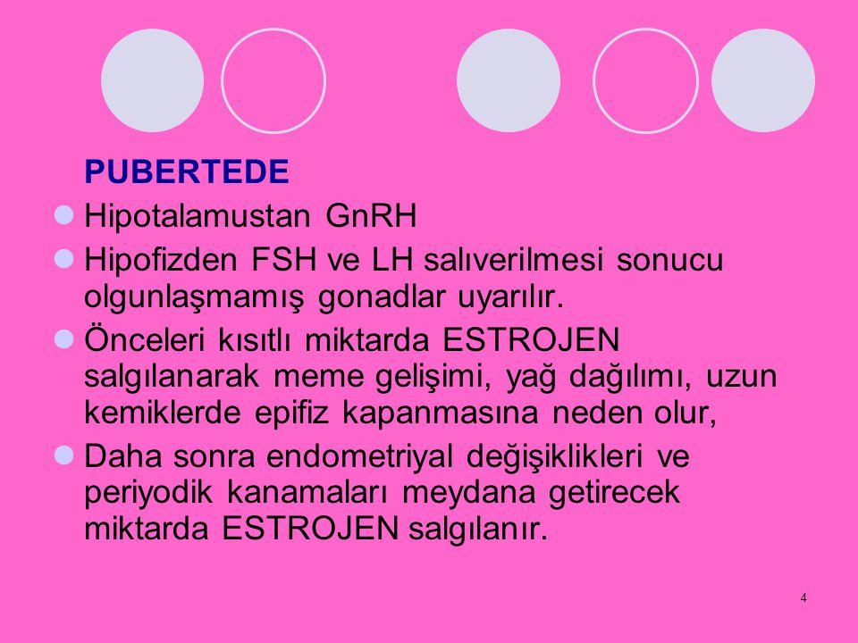 4 PUBERTEDE Hipotalamustan GnRH Hipofizden FSH ve LH salıverilmesi sonucu olgunlaşmamış gonadlar uyarılır. Önceleri kısıtlı miktarda ESTROJEN salgılan