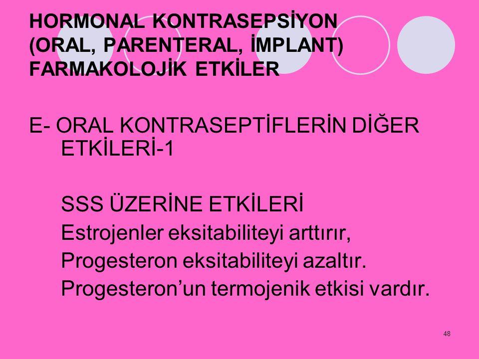 48 HORMONAL KONTRASEPSİYON (ORAL, PARENTERAL, İMPLANT) FARMAKOLOJİK ETKİLER E- ORAL KONTRASEPTİFLERİN DİĞER ETKİLERİ-1 SSS ÜZERİNE ETKİLERİ Estrojenle