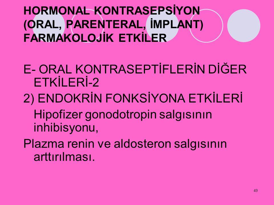 49 HORMONAL KONTRASEPSİYON (ORAL, PARENTERAL, İMPLANT) FARMAKOLOJİK ETKİLER E- ORAL KONTRASEPTİFLERİN DİĞER ETKİLERİ-2 2) ENDOKRİN FONKSİYONA ETKİLERİ