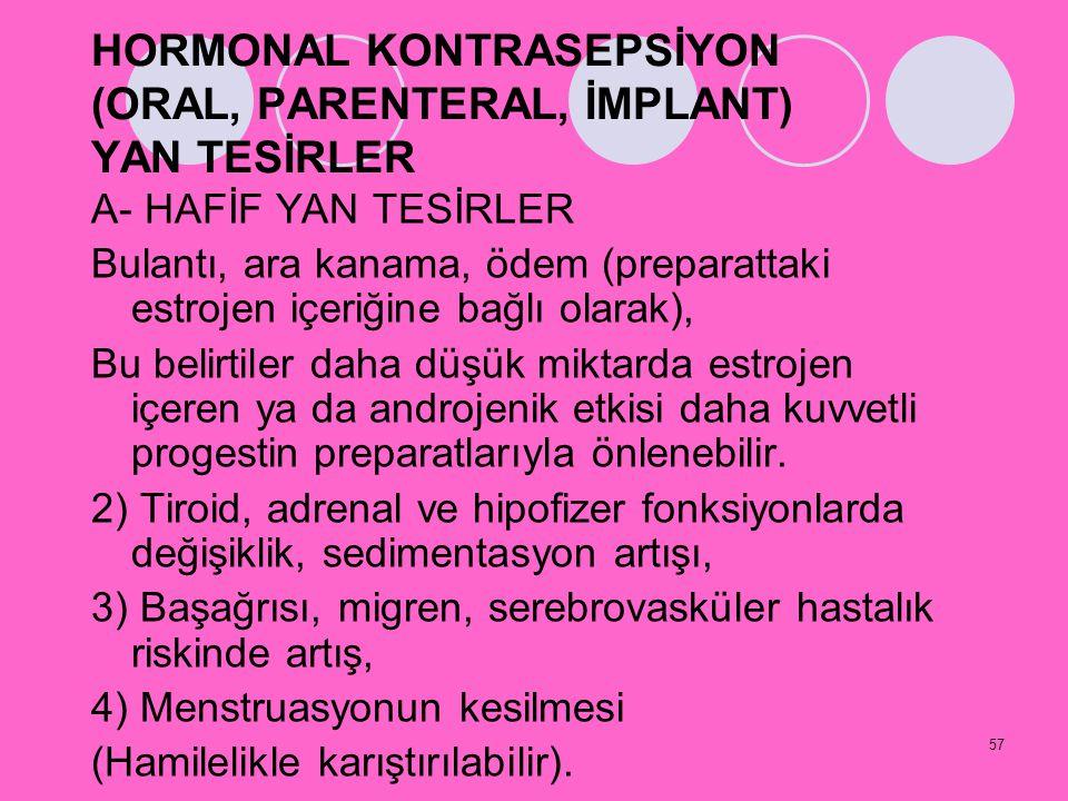 57 HORMONAL KONTRASEPSİYON (ORAL, PARENTERAL, İMPLANT) YAN TESİRLER A- HAFİF YAN TESİRLER Bulantı, ara kanama, ödem (preparattaki estrojen içeriğine b