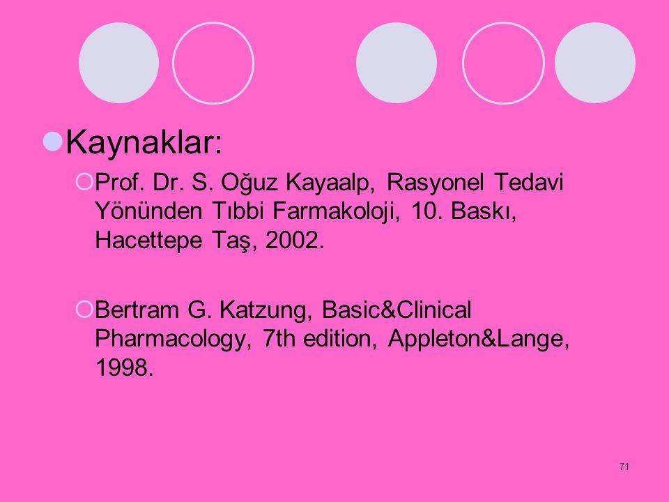 71 Kaynaklar:  Prof. Dr. S. Oğuz Kayaalp, Rasyonel Tedavi Yönünden Tıbbi Farmakoloji, 10. Baskı, Hacettepe Taş, 2002.  Bertram G. Katzung, Basic&Cli