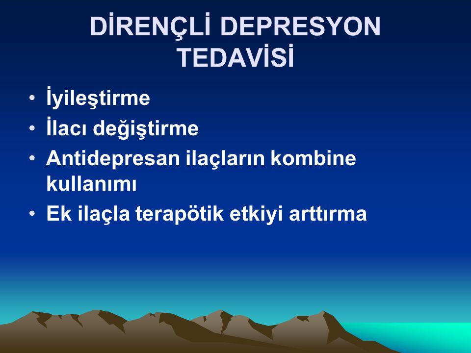 DİRENÇLİ DEPRESYON TEDAVİSİ İyileştirme İlacı değiştirme Antidepresan ilaçların kombine kullanımı Ek ilaçla terapötik etkiyi arttırma