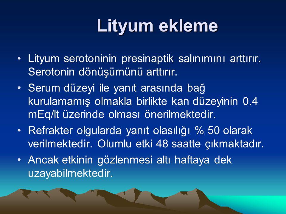 Lityum ekleme Lityum serotoninin presinaptik salınımını arttırır. Serotonin dönüşümünü arttırır. Serum düzeyi ile yanıt arasında bağ kurulamamış olmak