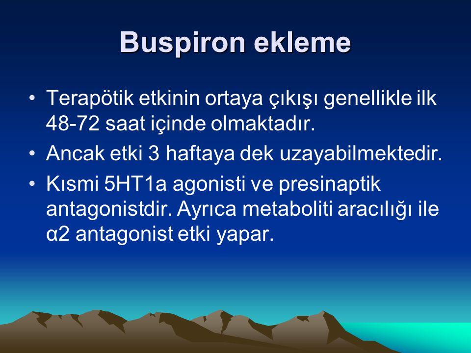 Buspiron ekleme Terapötik etkinin ortaya çıkışı genellikle ilk 48-72 saat içinde olmaktadır. Ancak etki 3 haftaya dek uzayabilmektedir. Kısmi 5HT1a ag