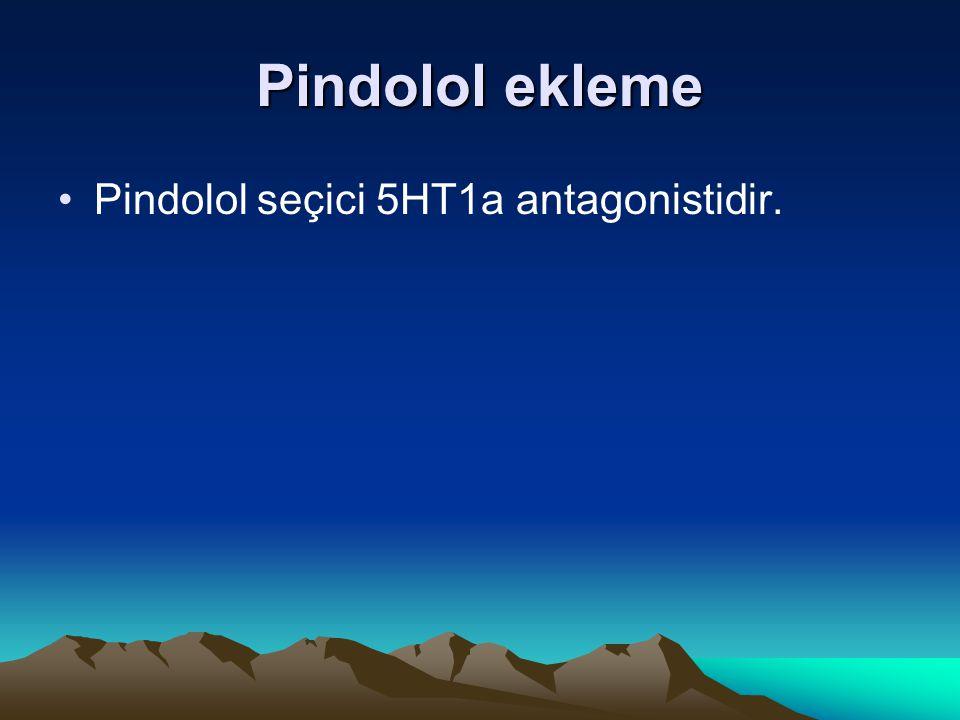 Pindolol ekleme Pindolol seçici 5HT1a antagonistidir.